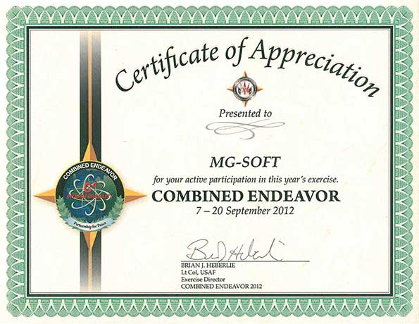 Combined Endeavor 2012 - MG-SOFT Certificate